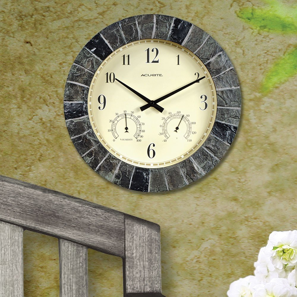 02418 14 Inch Faux Slate Indoor Outdoor Wall Clock With Thermometer Hygrometer 14inch Fauxslate By Acurite
