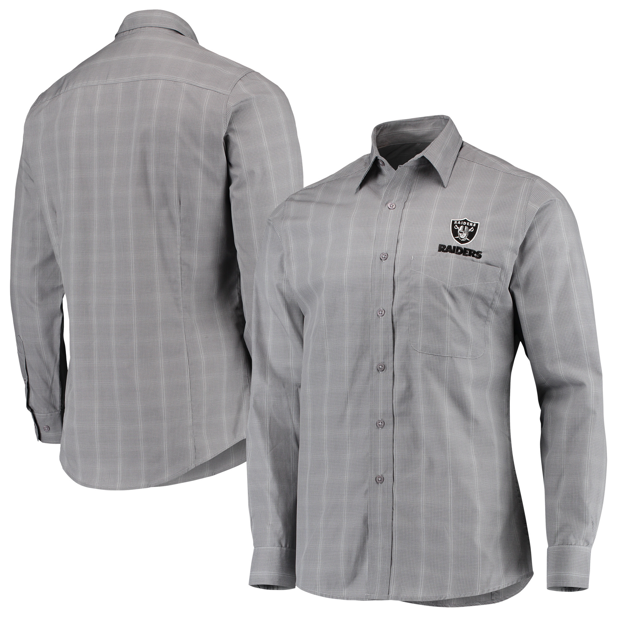 Oakland Raiders Antigua Agent Woven Long Sleeve Button-Up Shirt - Charcoal