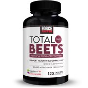 Total Beets Blood Pressure Support Supplement with Nitrates and Grapeseed Extract to Boost Nitric Oxide, Circulatory and Cardiovascular Vasodilator Heart Health Vitamins, Force Factor, 120 Tablets