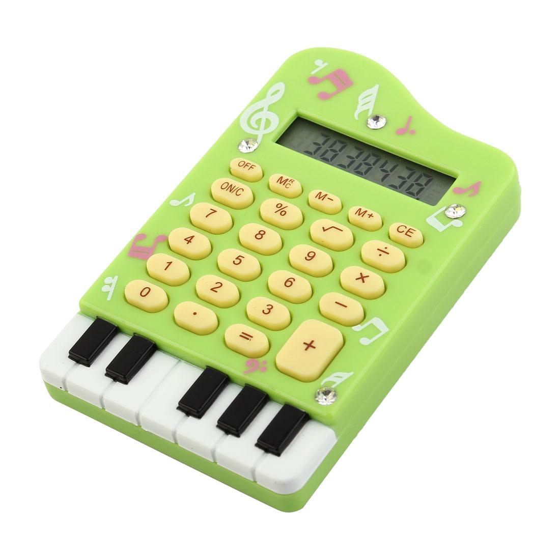 Office School Student Piano Design Portable 24 Keys Electronic Calculator Green