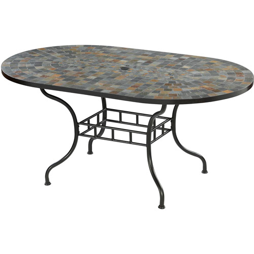 "Home Styles Stone Harbor 60"" Oval Outdoor Dining Table, Black"
