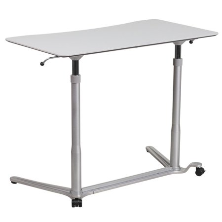 Sit-Down, Stand-Up Light Gray Computer Desk with 37.375''W Top (Adjustable Range 29'' -