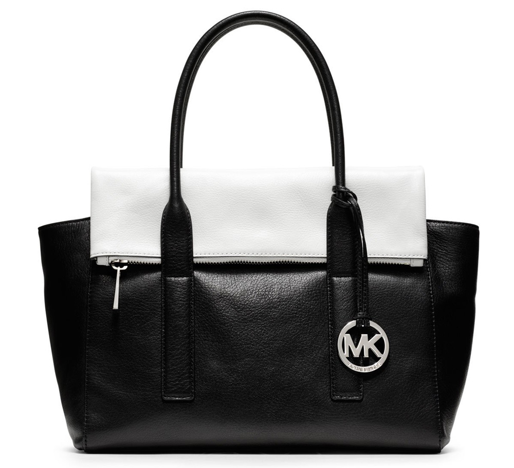 Michael Kors NEW Black White Leather Tippi Large Satchel ...