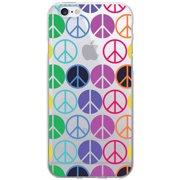 OTM Groovy Prints Clear Phone Case for Apple iPhone 6, Rainbow Peace
