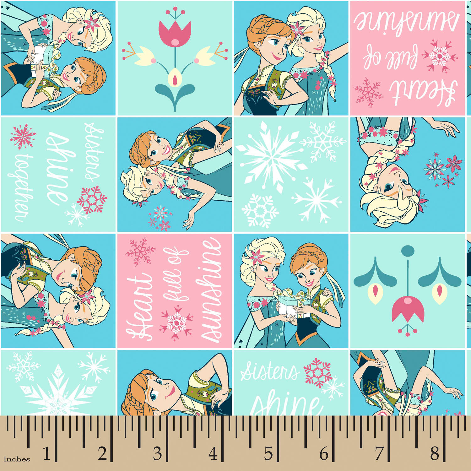 "Disney Sisters Frozen Fever Patch, Flannel, Light Aqua, 42/43"" Width, Fabric by the Yard"