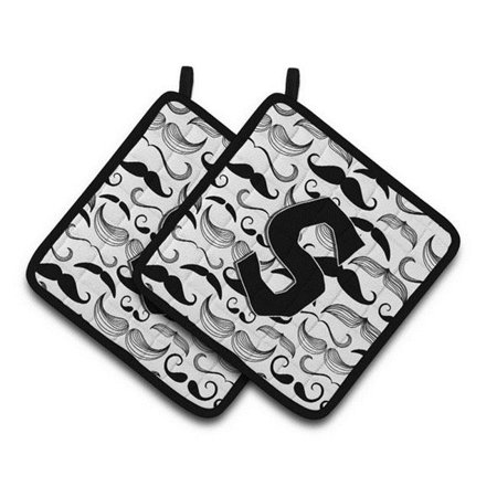 Carolines Treasures CJ2009-SPTHD Letter S Moustache Initial Pair of Pot Holders, 7.5 x 3 x 7.5 in. - image 1 of 1