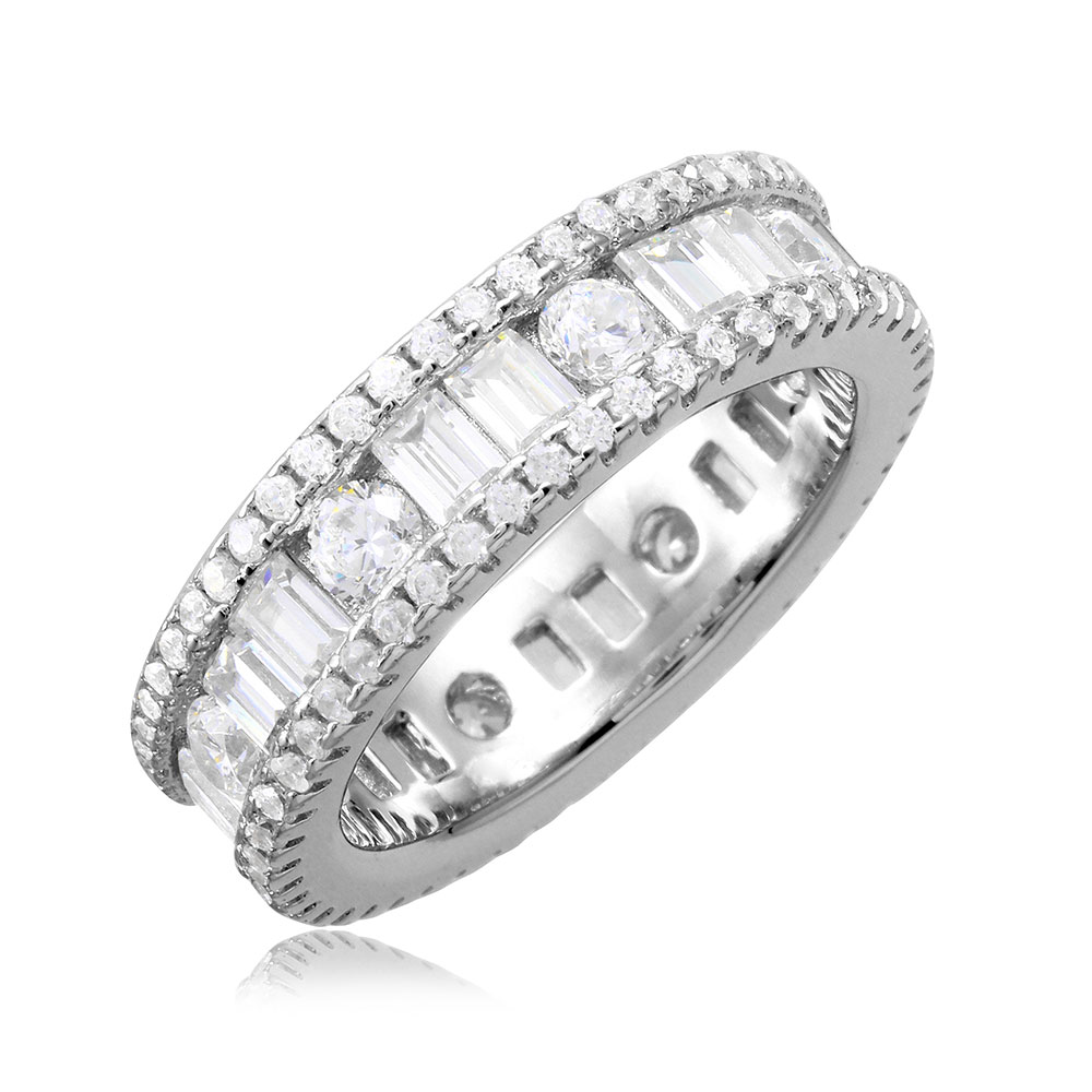 Baguette And Round Clear Cubic Zirconia Eternity Band Ring Rhodium Plated Sterling Silver Size 5