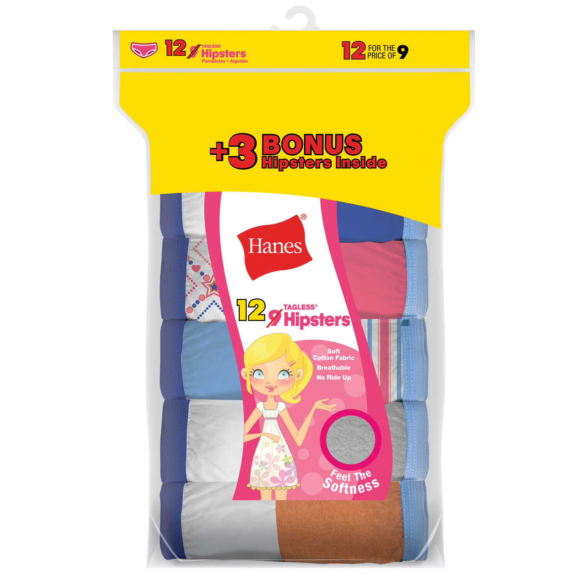 Hanes Girl's Cotton Hipster 9 Pack + 3 Free