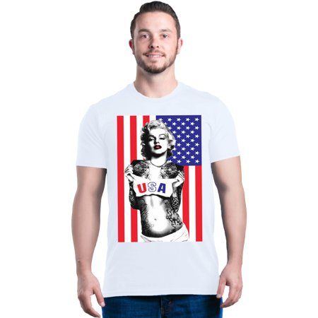 - Shop4Ever Men's Marilyn USA Flag 4th of July Graphic T-shirt