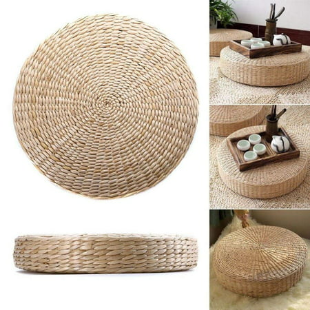Yosoo Woven Straw Cushion Round Pouf Tatami Chair Pad Yoga Seat Pillow Knitted Floor Mat Garden Dining Room Home Decor Outdoor (40cm x 6 cm)