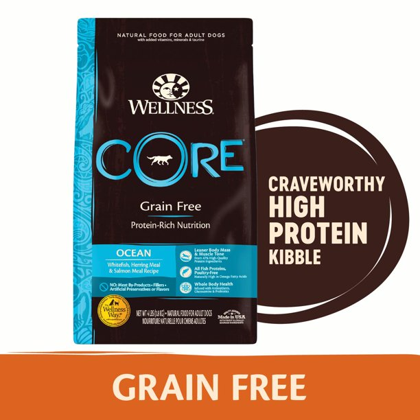 Wellness CORE Natural Grain Free Dry Dog Food, Ocean Whitefish, Herring & Salmon, 26-Pound Bag