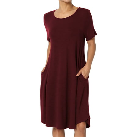 TheMogan Women's S~3X Short Sleeve Draped Jersey Knit Pocket A-Line T-Shirt Dress