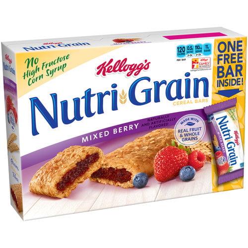 Kellogg's Nutri-Grain Mixed Berry Cereal Bars, 1.3 oz, 9 ct
