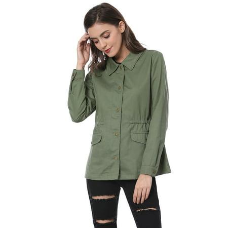 Unique Bargains Women Drawstring Waist Flap Pockets Military Jacket Green L - image 6 de 7