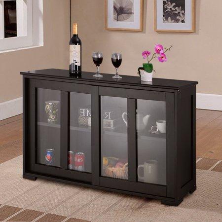 Costway Storage Cabinet Sideboard Buffet Cupboard Glass
