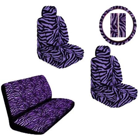 (Purple Zebra Animal Print Safari Stripes Car Truck SUV Universal-Fit Bucket Seat Covers Bench Seat Cover Steering Wheel Cover & Shoudler Belt Pads Auto Accessories Interior Combo Kit Gift Set - 11PC)