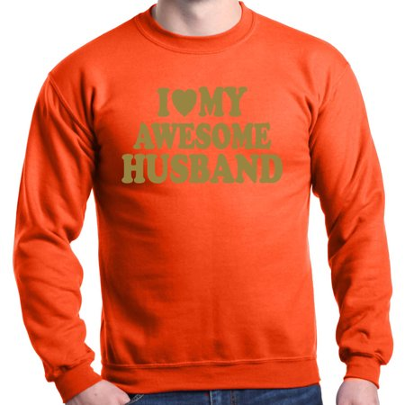 Shop4Ever Men's I Love My Awesome Husband Gold Couples Crewneck Sweatshirt