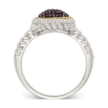 Sterling Silver w/14k Gold and Black Rhodium Garnet Ring - image 2 de 6