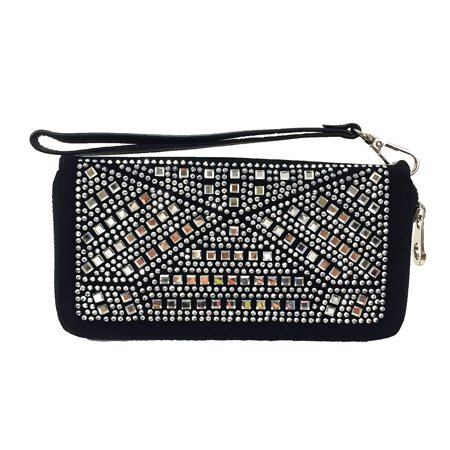 Wallet Purse With Strap (ZzFab Gem Wallet Matching Rhinestone Wallet for Sparkle Purse Black with Wristlet)