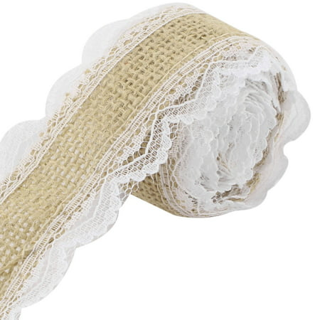 Wedding Lace Edge Strap Decor Craft Burlap Ribbon Roll White 2.2 Yards 4cm Width