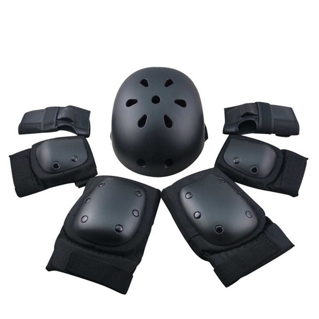 7Pcs Set Sport Safety Protective Gear Elbow Wrist Knee Pads and Helmet Guard for Kids Adult Skateboard Skating Riding - Black S