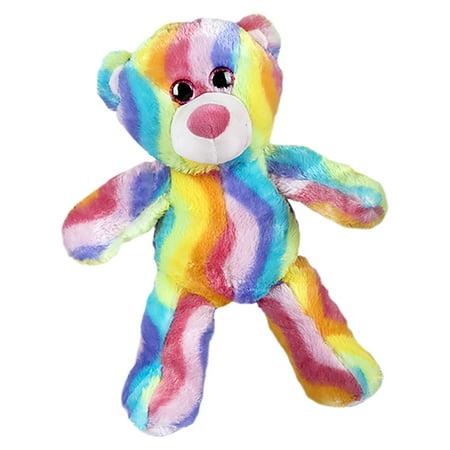 Cuddly Soft 16 inch Stuffed Rainbow Stripe Teddy Bear - We stuff 'em...you love 'em! - Rainbow Bears