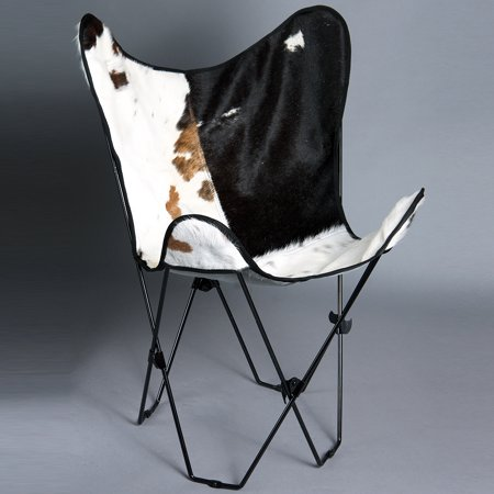 MADE IN USA GENUINE LEATHER BUTTERFLY CHAIR FOLDING LOUNGE MODERN SLING SEAT ()