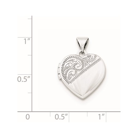 925 Sterling Silver Rhodium-plated 15mm Heart Locket - image 1 of 3