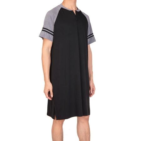 Long Sleeve Nightshirt - SAYFUT Big & Tall Mens Sleep Shirts Short Sleeve Nightshirts Sleepwear Henley Long Nightshirt Nightwear
