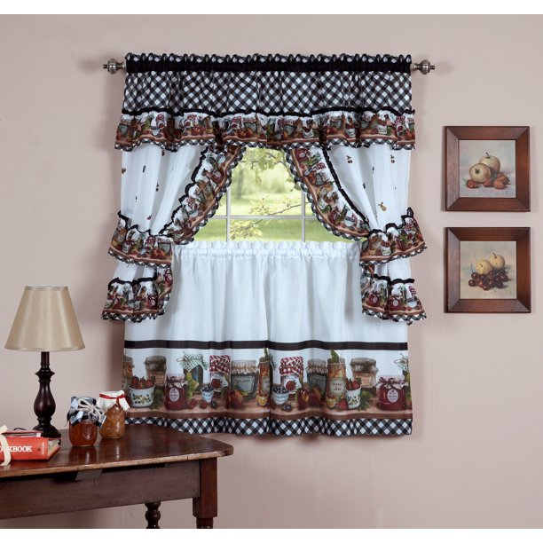 Mason Jars Complete Cottage Style Kitchen Curtain Set 24 In Length Walmart Com Walmart Com
