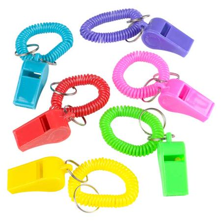 Around-The-Wrist Whistle Coil Bracelets Keychain Party Favors Lot of - Fun Keychains
