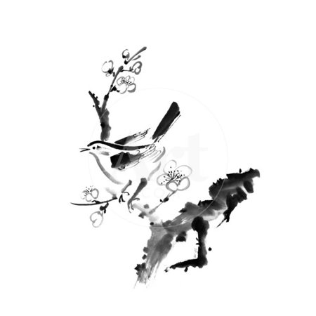 Chinese Painting , Plum Blossom And Bird, On White Background Print Wall Art By elwynn