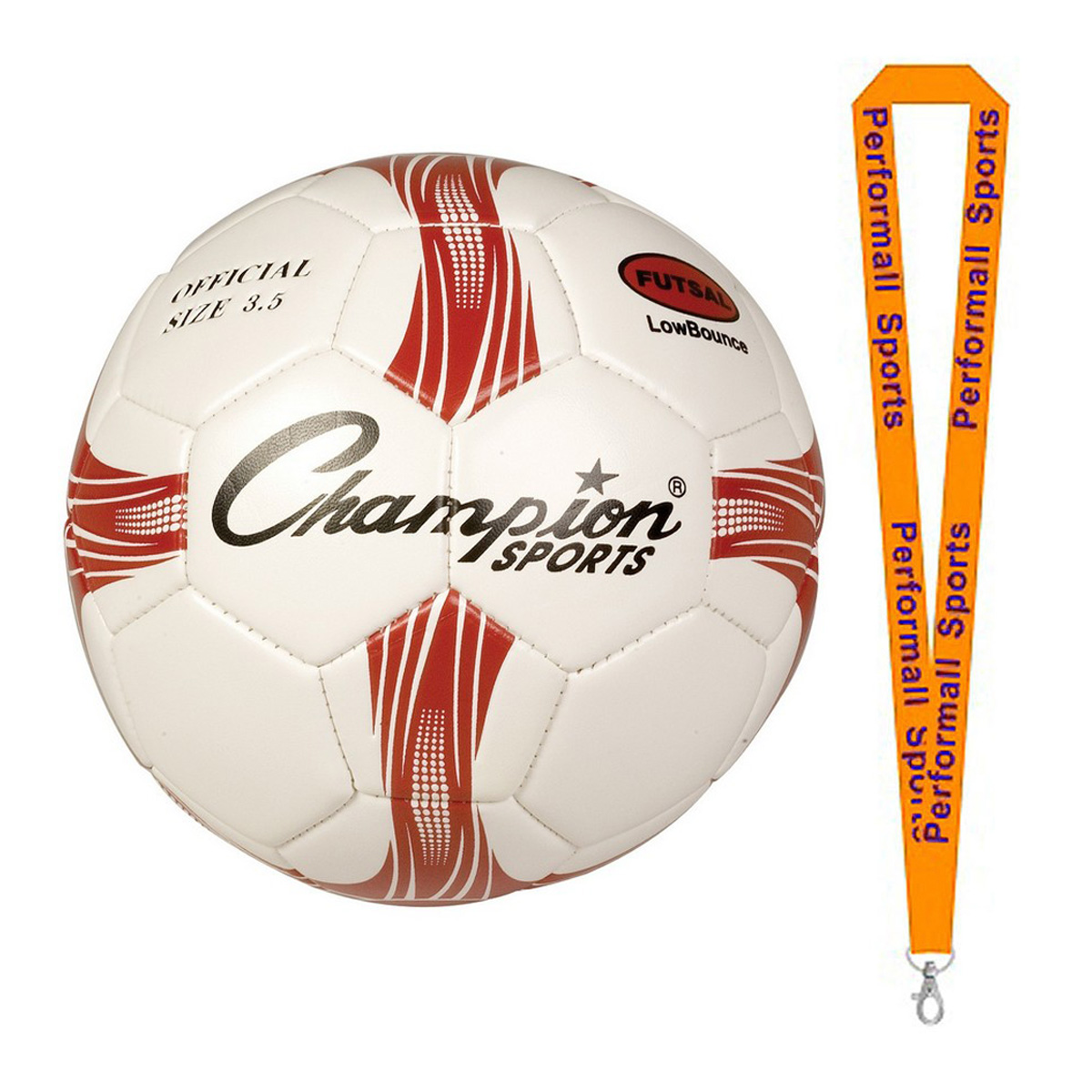 Champion Sports Bundle: Size 4 Futsal Soccer Ball Red / Black / White with 1 Performall Lanyard FTS3-1P
