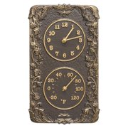 Whitehall Products Acanthus Combo Outdoor Wall Clock And Thermometer - French Bronze