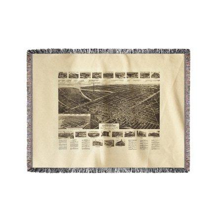 Lindenhurst, New York - Panoramic Map (60x80 Woven Chenille Yarn Blanket)
