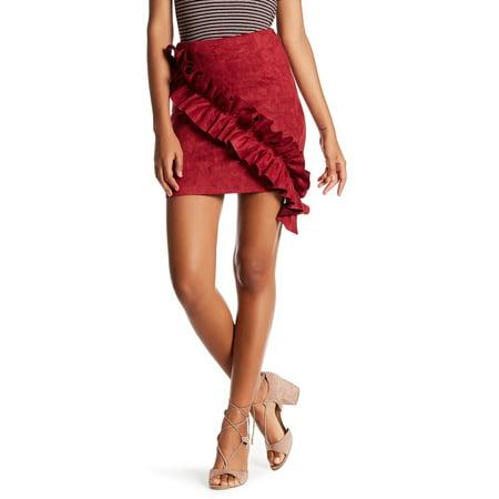 a31d8443d Alpha & Omega Skirts - Alpha & Omega Womens Large Faux Suede Ruffled Mini  Skirt - Walmart.com