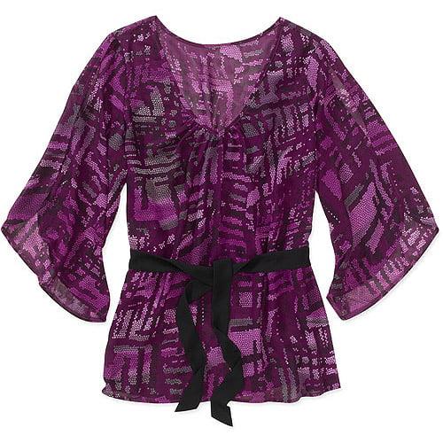 Miss Tina Women's Plus-Size Romantic Woven Blouse