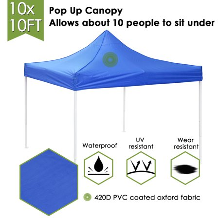 Yescom 10x10' EZ Pop Up Canopy Tent 420D Waterproof Instant Shelter Outdoor Party w/ Carry Bag, (Blue Red Tent)