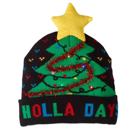 abb03e2f181e7 Holiday - Mens Black Holla Days Christmas Tree Holiday Stocking Cap Light  Up Beanie Hat - Walmart.com