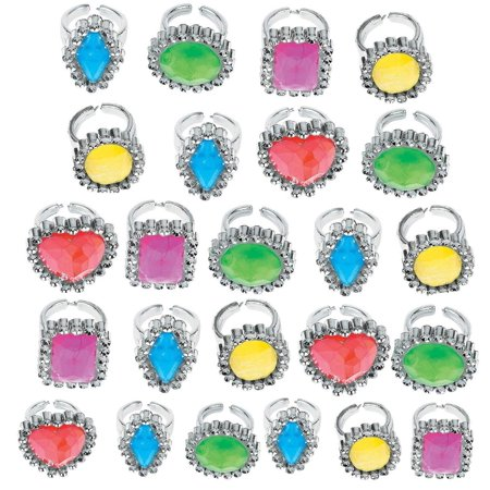 Childrens Party Favors (Colorful Rhinestone Rings 1 Inch - Pack Of 24 – Assorted Colors And Shapes Rhinestone Gem Rings - For Kids Great Party Favors, Bag Stuffers, Fun, Toy, Gift, Prize, Dress)