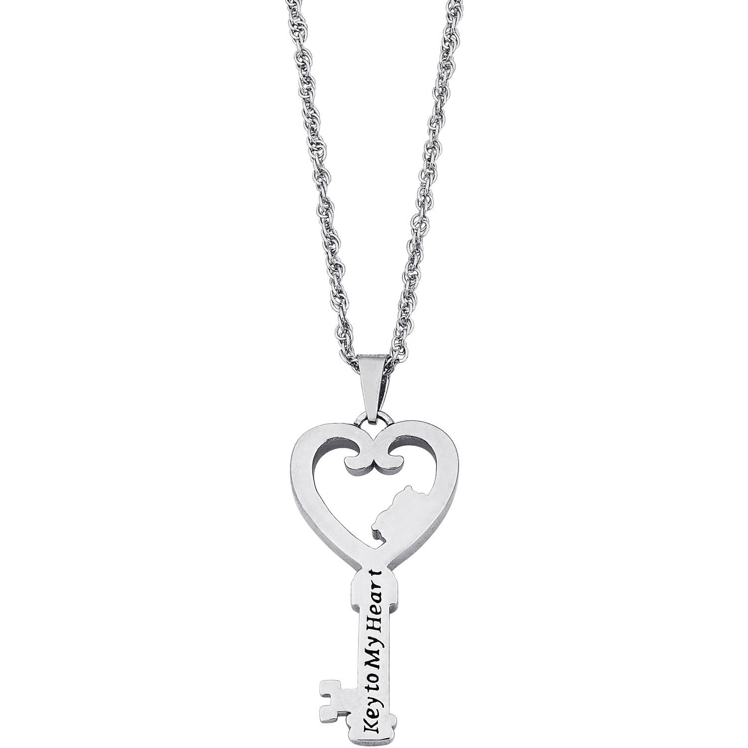 Personalized Couples Name & Birthstone Heart Key Diamond Accent Necklace