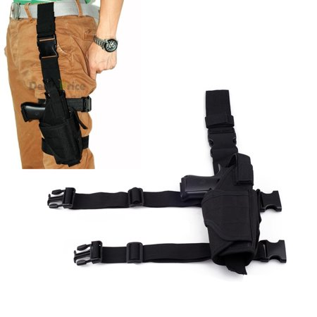Swat Tactical Drop Leg - Tactical Army Pistol Gun Drop Leg Thigh Holster Pouch Adjustable Holder, Right , Black