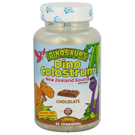 Kal - Dino Colostrum, Chewable, Chocolate (Btl-Plastic) 300mg 60ct Colostrum Plus Pineapple Chewables