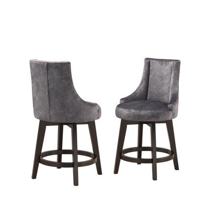 Admirable Walden 25H Swivel Counter Height Bar Stools Gray Fabric Cappuccino Wood Legs Set Of 2 Ibusinesslaw Wood Chair Design Ideas Ibusinesslaworg