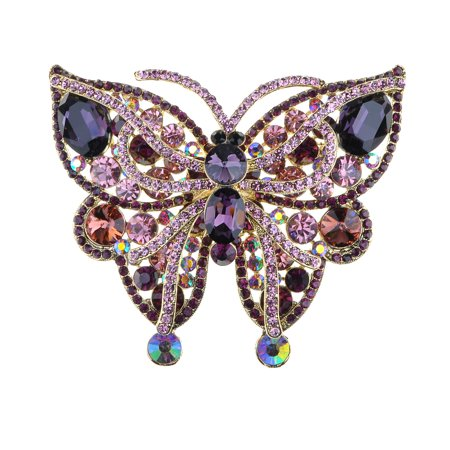 Vintage Inspired Amethyst Crystal Rhinestone Large Moth Butterfly Pin Brooch