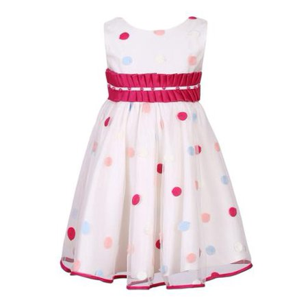 Little Girls Fuchsia Polka Dot Pleated Waist Dress 4
