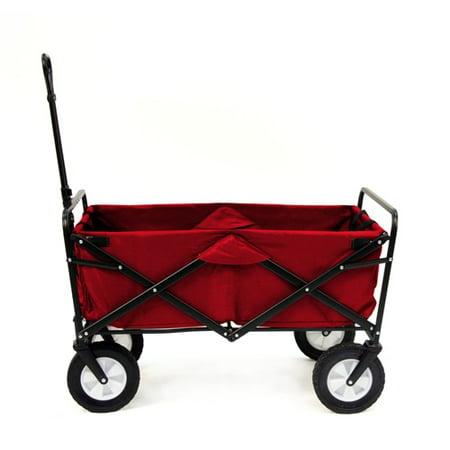 Red Mac Sports Collapsible Folding Utility Wagon Garden Cart Shopping Beach