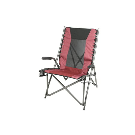 Ozark Trail Mesh Back Bungee High Back Chair with Cup Holders, Red