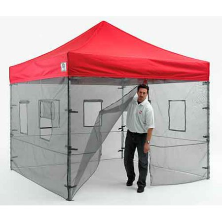 Impact Canopy 10 x 10 Canopy Tent Walls, Food Service Mesh Sidewall Kit with Service Windows, 4 Walls ONLY, Black