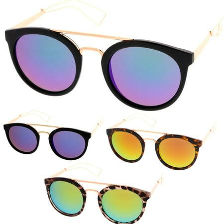 MLC Eyewear Urban Fashion Dapper Frame Double Bar Flash Lens Women Sunglasses Model (Sun Glasses Model)